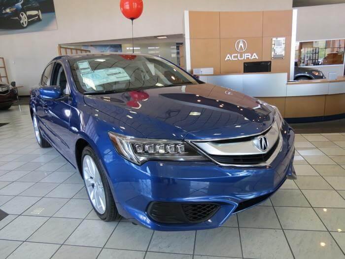 Acura vehicle on display in the showroom
