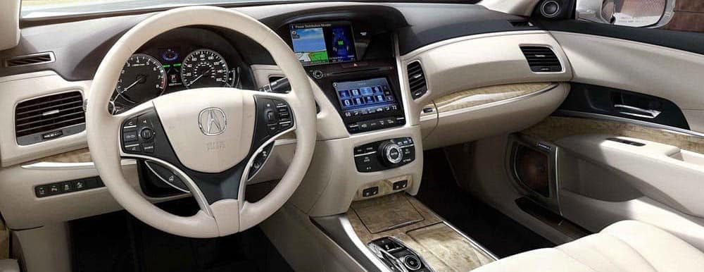 cream Acura RLX interior and dashboard