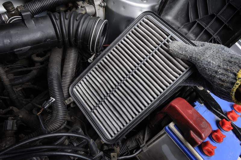 Close up of engine air filter