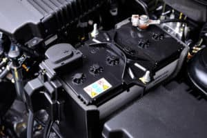 Close up of car battery