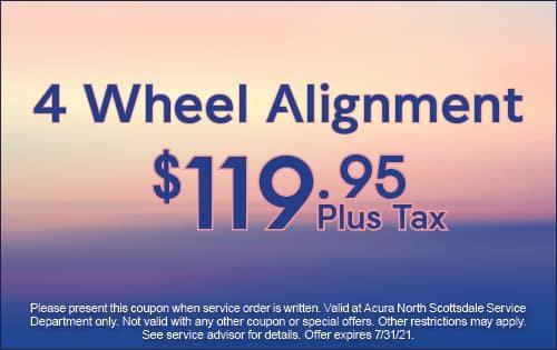 4 wheel alignment $119.95 plus tax