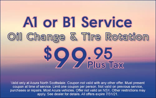 A1 or B1 service; oil change and tire rotation $99.95 plus tax