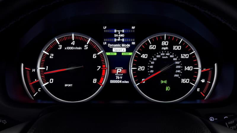 Close up of an Acura TLX cabin instrument panel