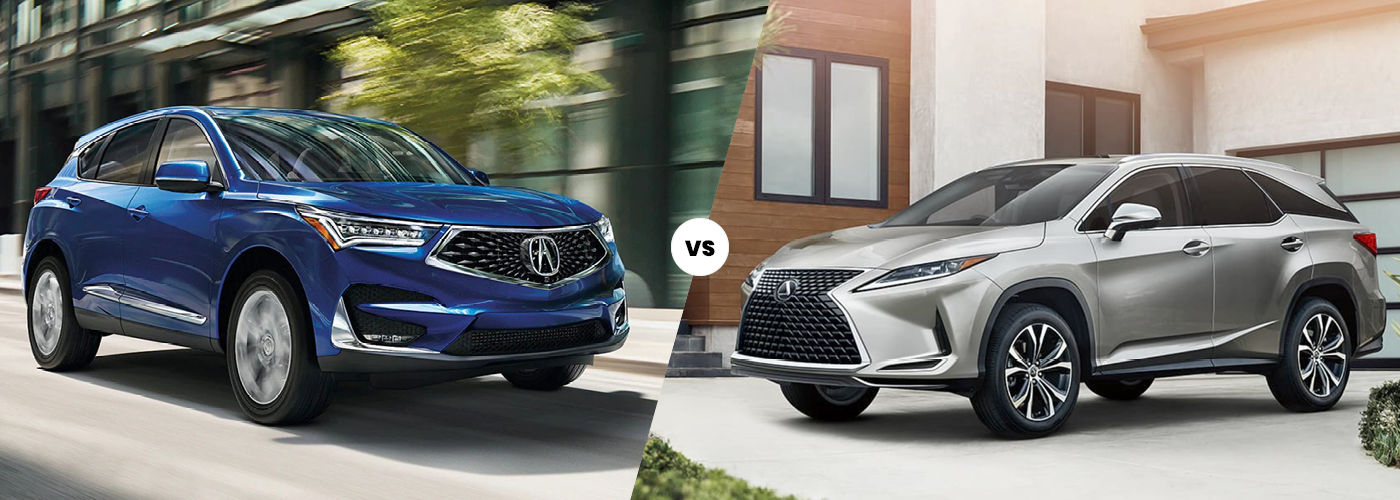 The 2021 Acura RDX in blue versus the 2021 Lexus RX in silver