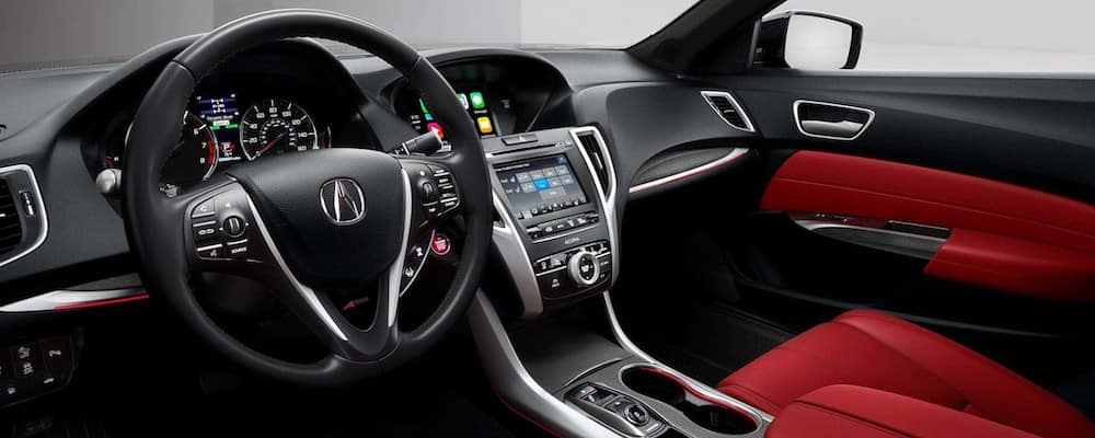 Acura TLX interior with read leather seating