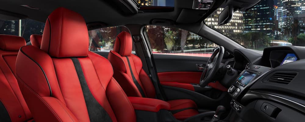 Red leather Acura ILX interior