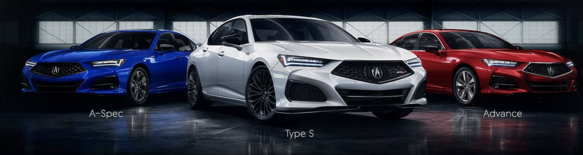 Three 2021 Acura TLX models parked in a row