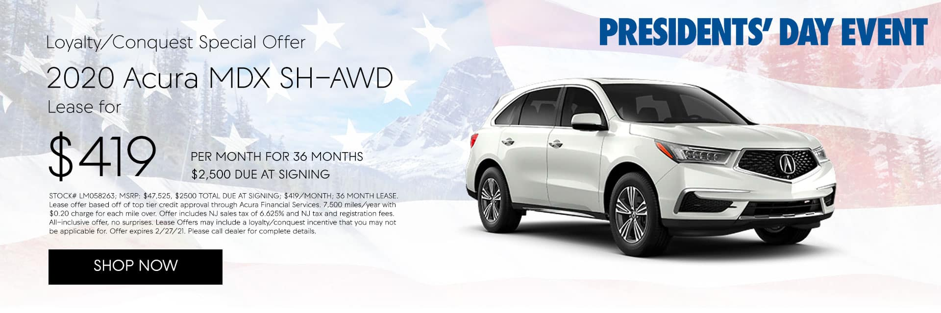 2020 ACURA MDX SH-AWD LOYALTY/CONQUEST OFFER Lease for $419/mo for 36 months with $2,500 due at signing*