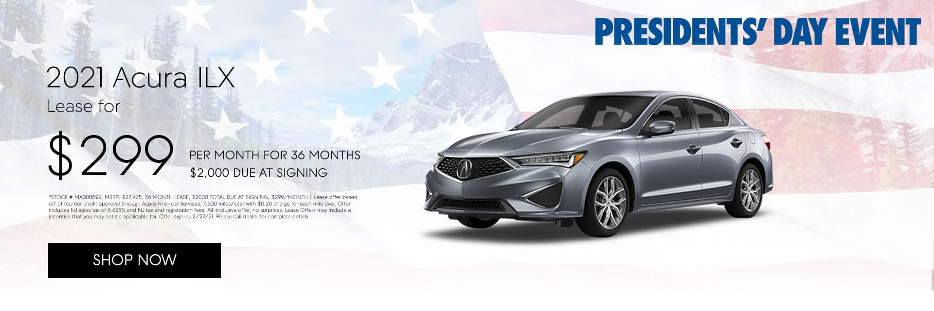 2021 Acura ILX: Lease for $299/mo for 36 months with $2,000 due at signing*
