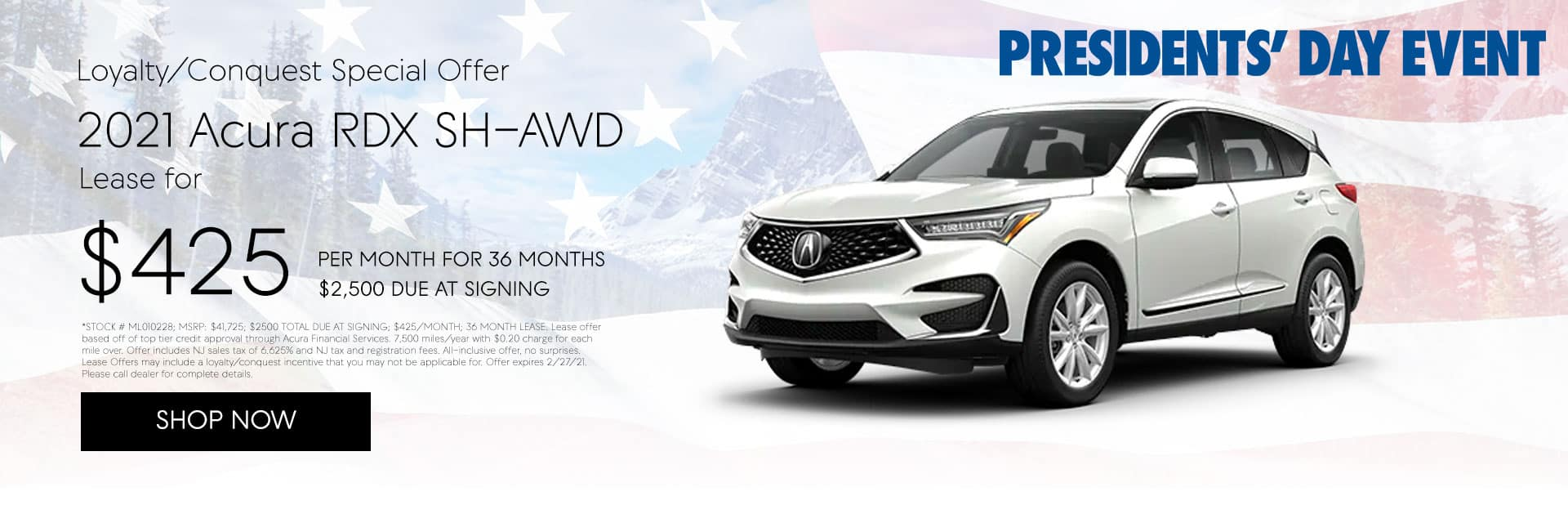 2021 ACURA RDX SH-AWD LOYALTY/CONQUEST OFFER Lease for $425/mo for 36 months with $2,500 due at signing*
