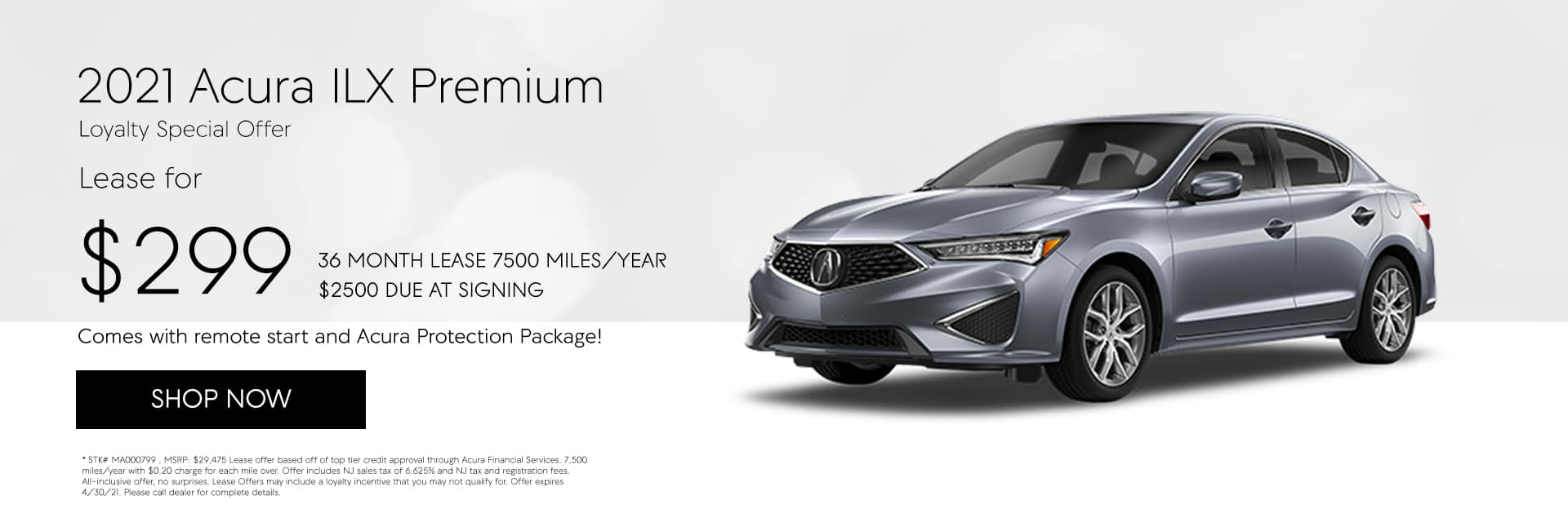 2021 Acura ILX Premium STK# MA000799 36 MONTH LEASE 7500 MILES/YEAR $2500 DUE AT SIGNING $299/MONTH MSRP: $29,475
