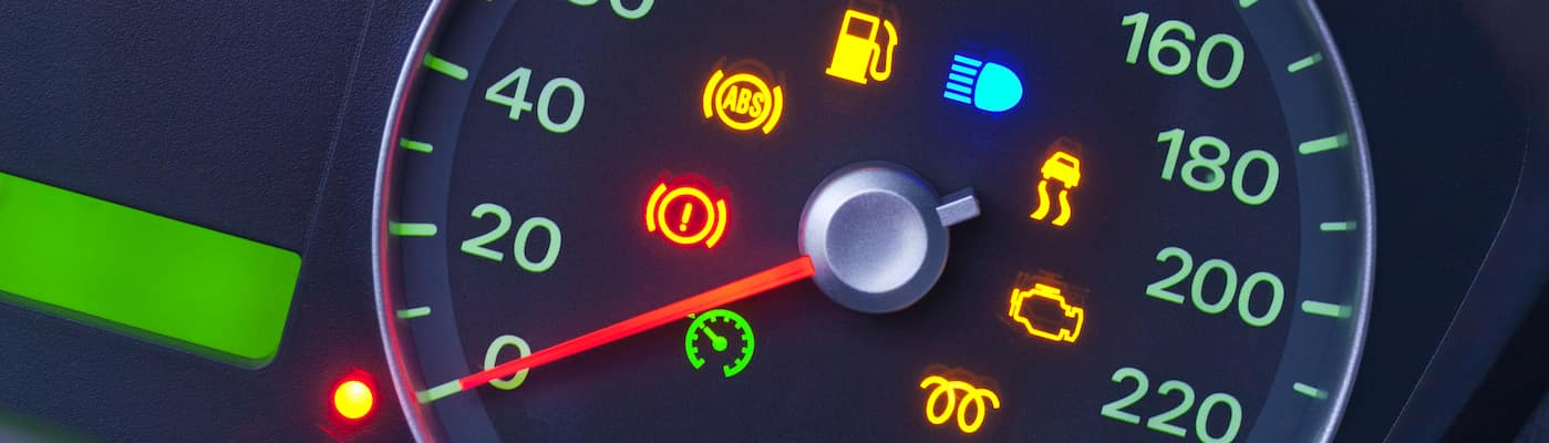 Closeup of dashboard warning lights