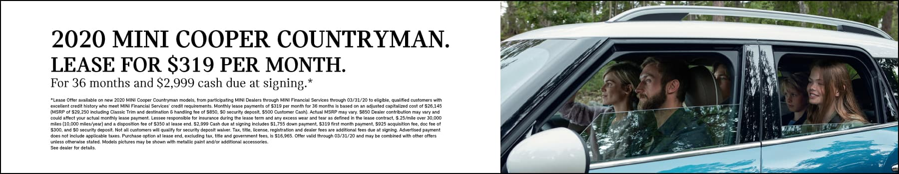 Countryman Cooper: Lease: $319 per month for 36 months