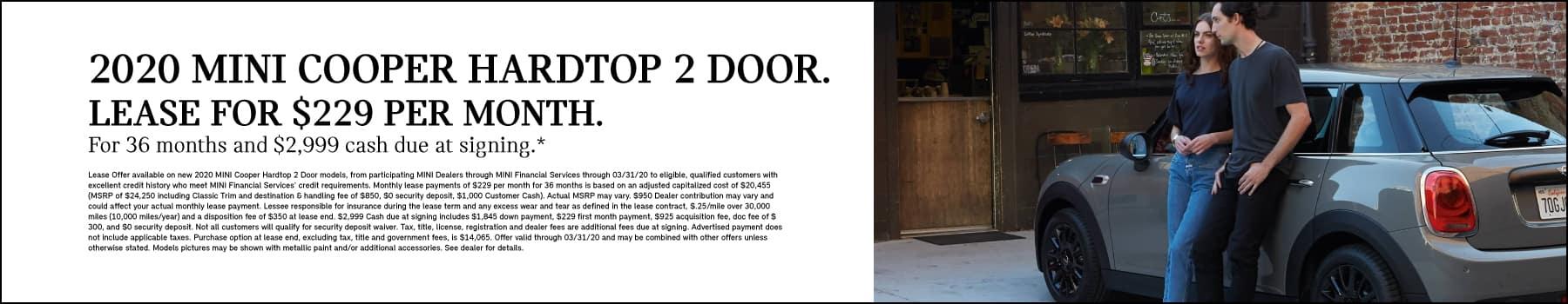 Hardtop 2 Door Cooper: Lease $229 per month for 36 months