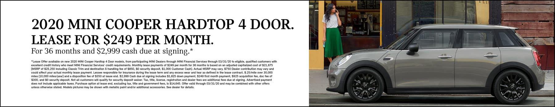 Hardtop 4 Door Cooper: Lease: $249 per month for 36 months