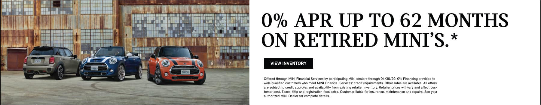 0% APR for 62 months on retired loaners. .