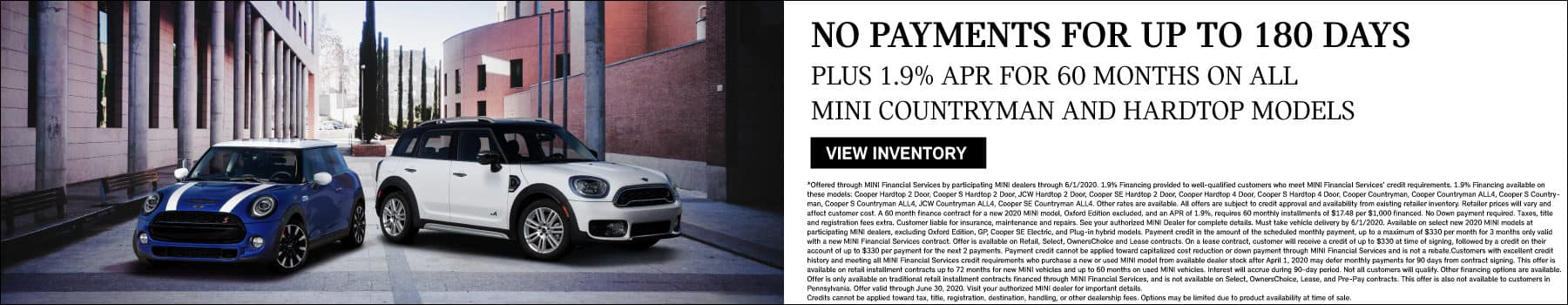 no payments for 180 days on countrymans and hardtops