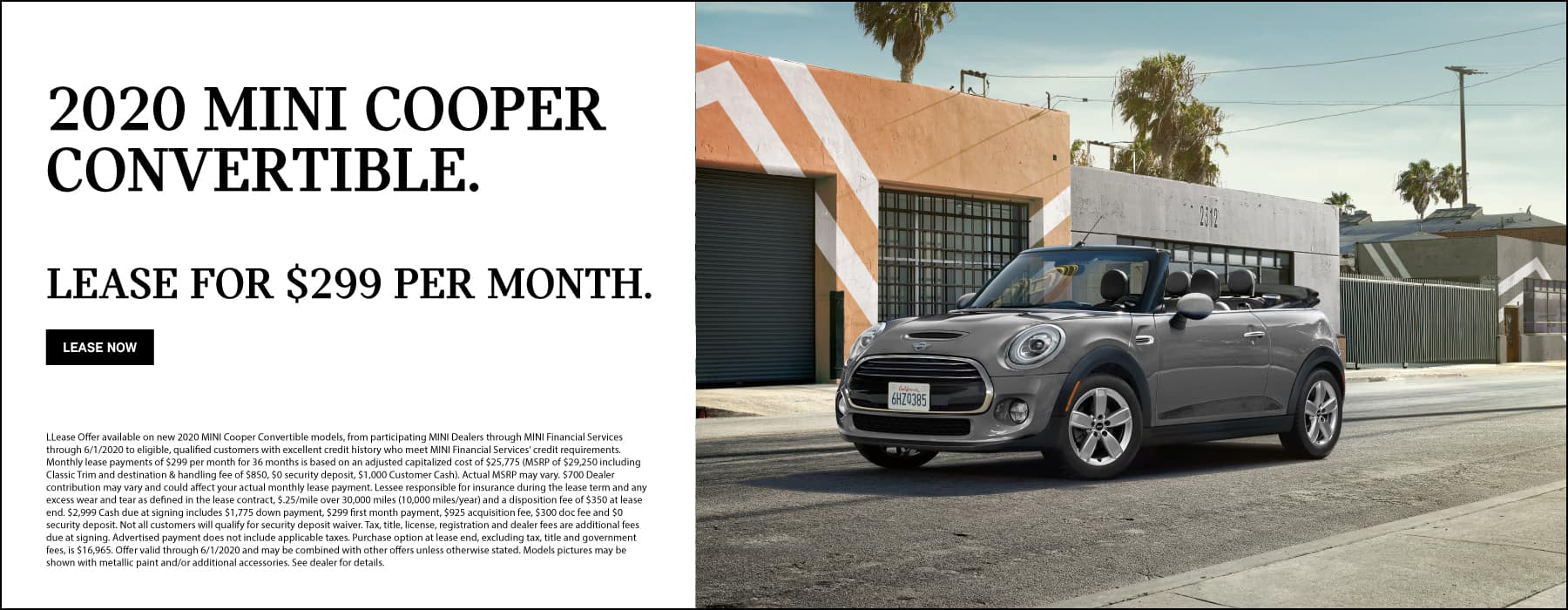 2020 MINI Cooper Convertible Lease: $299/MO for 36 months