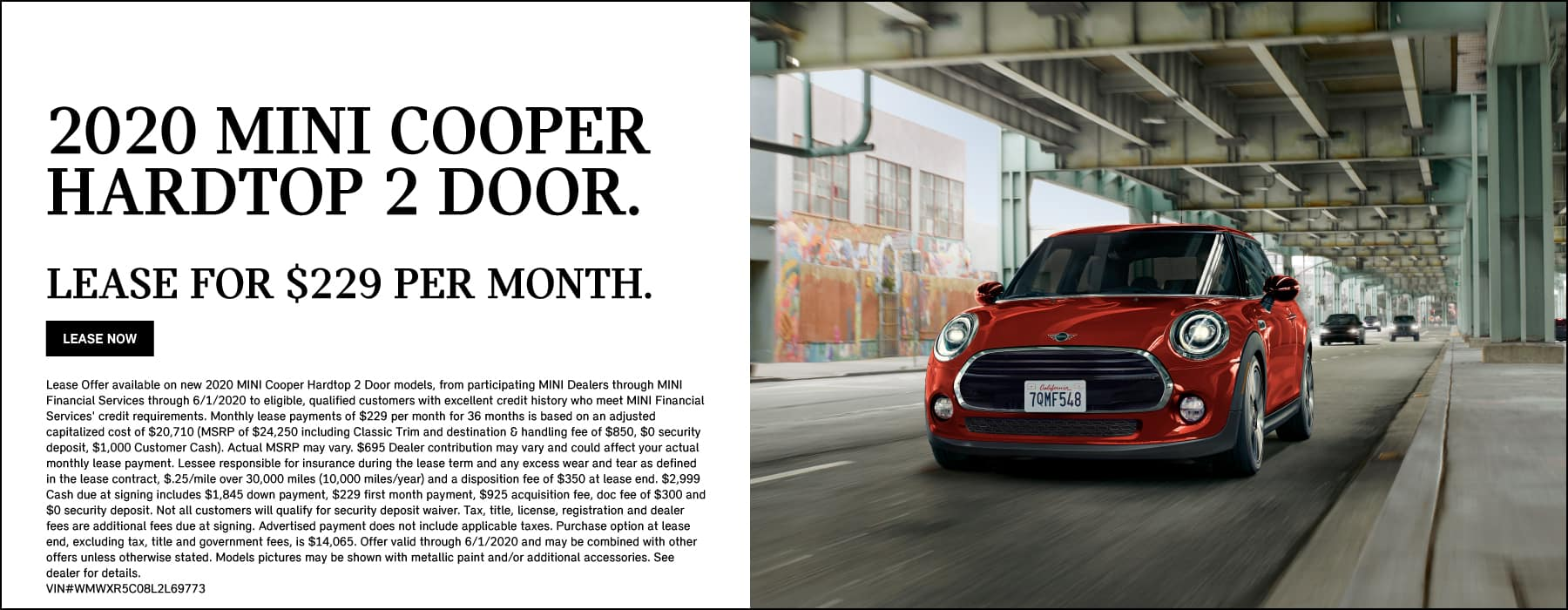 2020 MINI Cooper Hardtop 2 Door Lease: $229/MO for 36 months