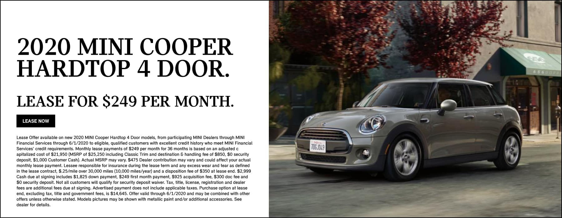 2020 MINI Cooper Hardtop 4 Door Lease: $249/MO for 36 months