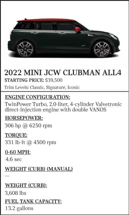 2022-MINI-JCW-Clubman-ALL4-Stats