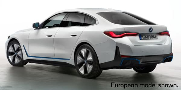 A rear view of the new 2022 BMW i4 electric sedan