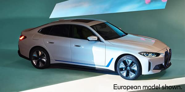 A side view of the new 2022 BMW i4 electric sedan