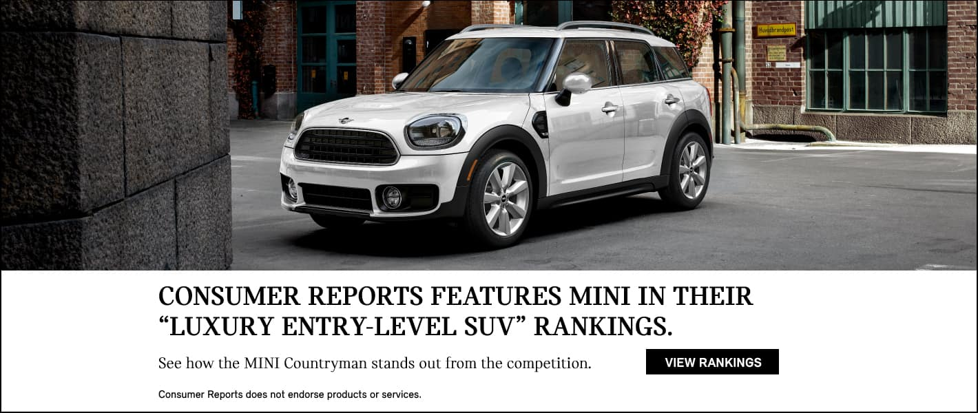 Consumer Reports features MINI in their Luxury Entry-Level SUV rankings.  See how the MINI Countryman stands out from the competition.  Consumers reports does not endorse products and services.  View Rankings.  White MINI Cooper Countryman Parked on Street.