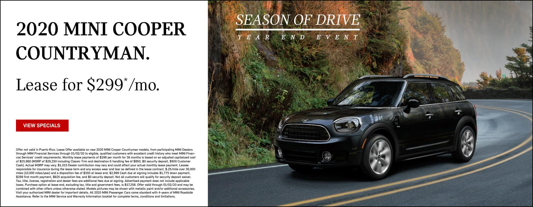 2020 MINI Cooper Countryman.  Lease for $299 per month.  View Specials.  Black MINI Cooper Countrymand driving on country road.