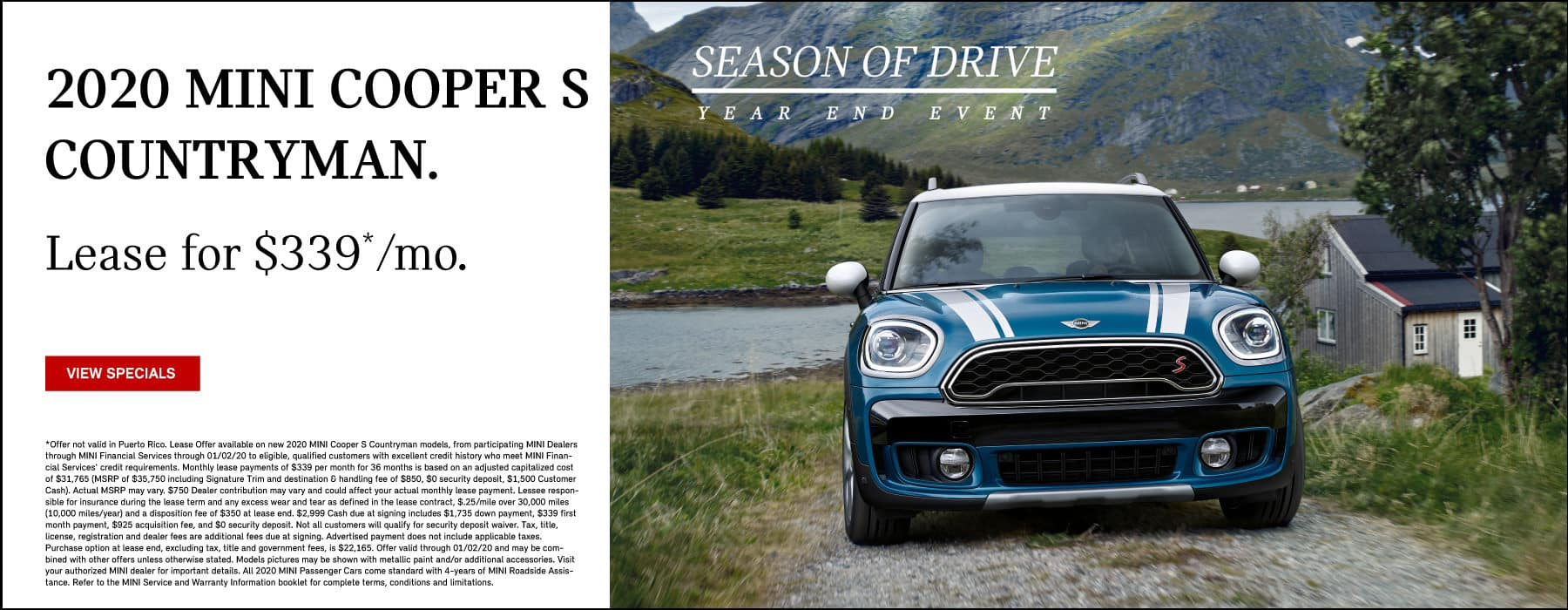 2020 MINI Cooper S Countryman Lease for $339 per month.  View Specials.  Blue MINI Cooper S Countryman Driving up a mountain terrain.