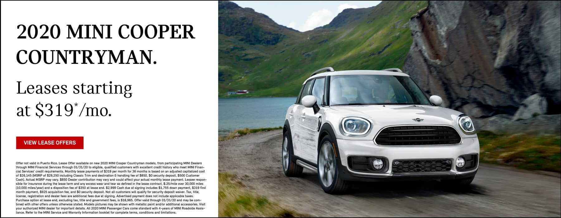 2020 MINI Cooper Countryman. Lease for $319 per month. View Specials. White MINI Cooper Countryman driving on mountain road.