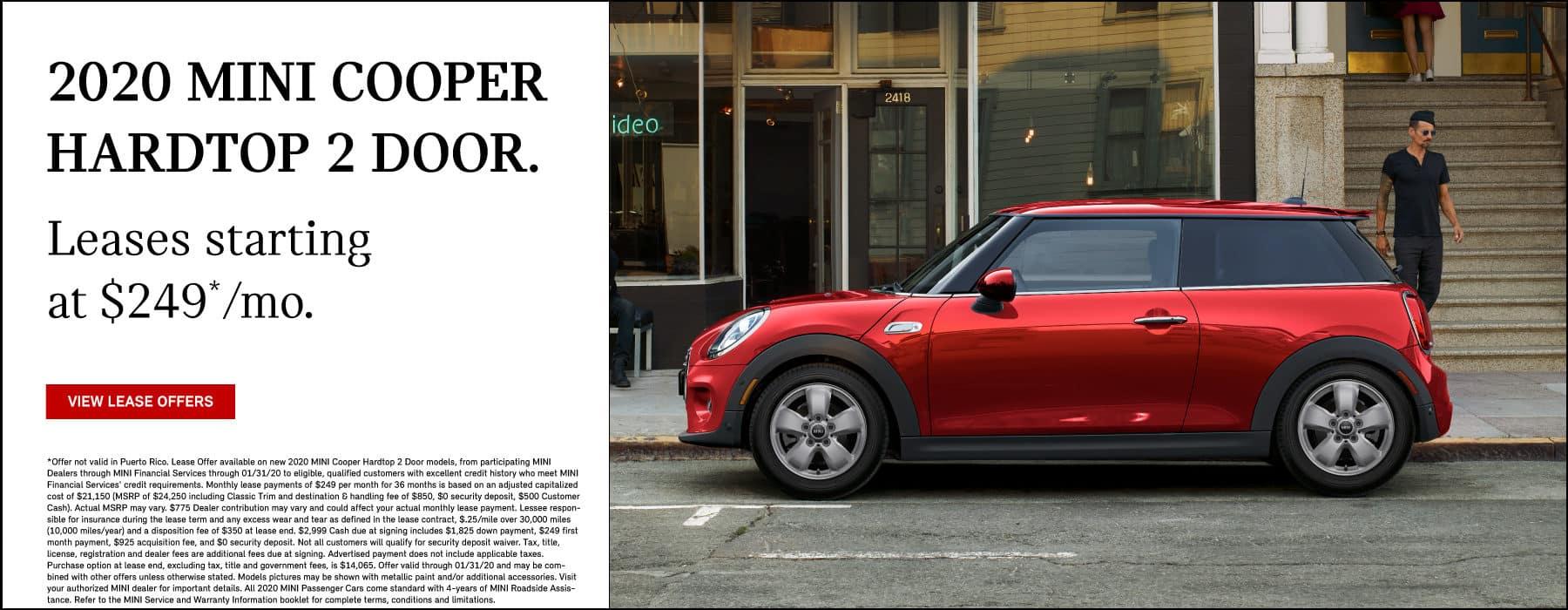 2020 MINI Cooper Hardtop 2 Door. Lease for $249 per month. View Specias. Red MINI Cooper Hardtop 2 door parked on side of the road.