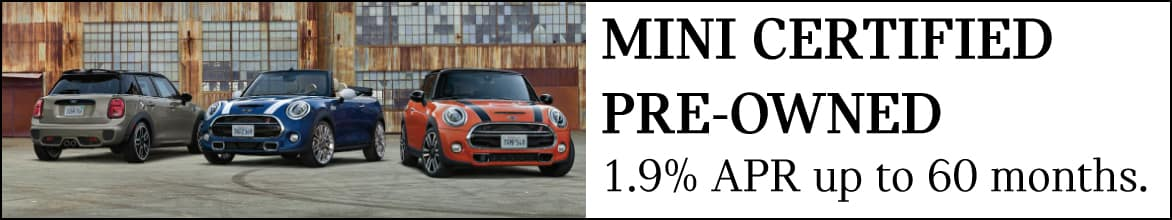 MINI Certified Pre-Owned 1.9% APR for up to 60 months