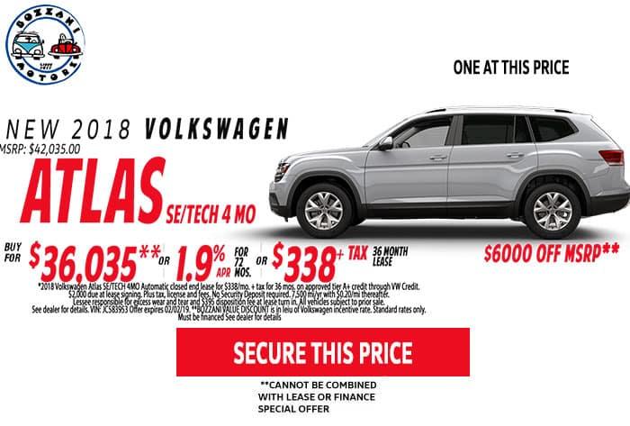 2018 Volkswagen Atlas SE W/TECH 4MO