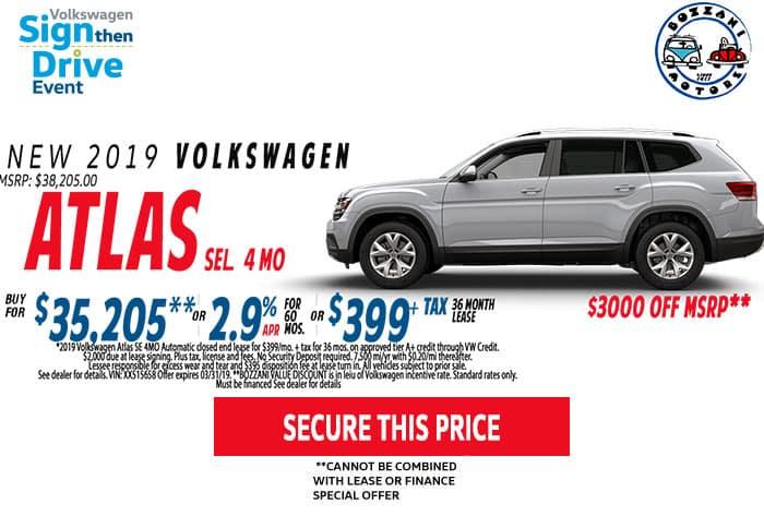 2019 Volkswagen Atlas SE 4MO