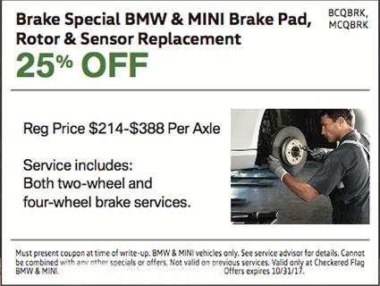 Brake Special BMW & MINI Brake Pad, Rotor & Sensor Replacement 25% OFF