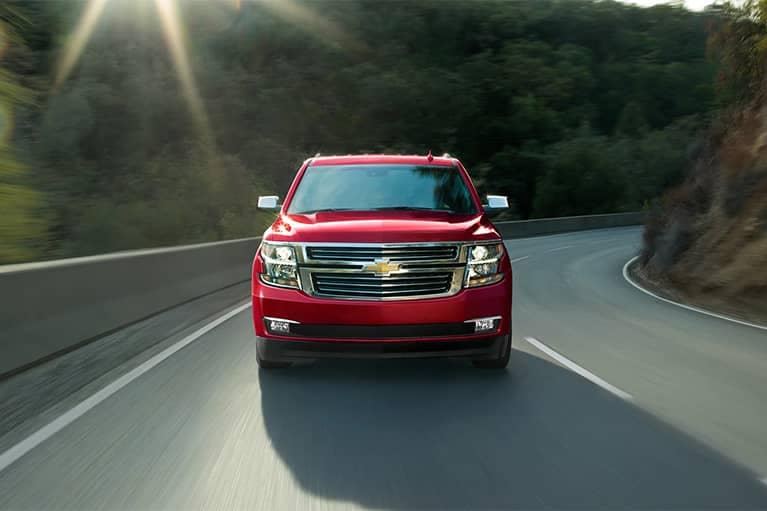 2020 Red Chevrolet Tahoe Full-Size SUV front grille exterior