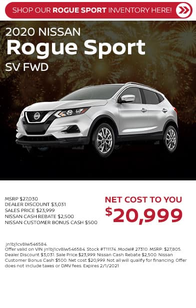 2020 Rogue Sport SV FWD as low as $20,999