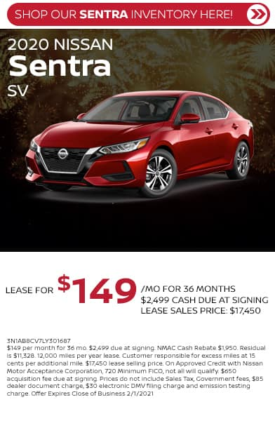 Lease a new 2020 Nissan Sentra SV $2499 Due at Signing $149/mo for 36 months