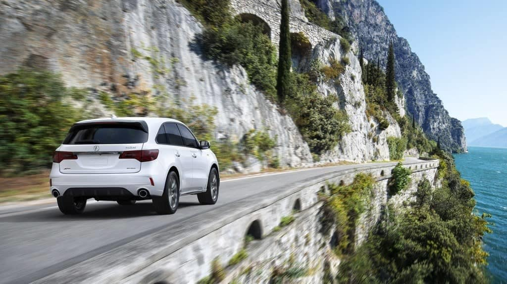 2019 Acura MDX on a cliffside drive