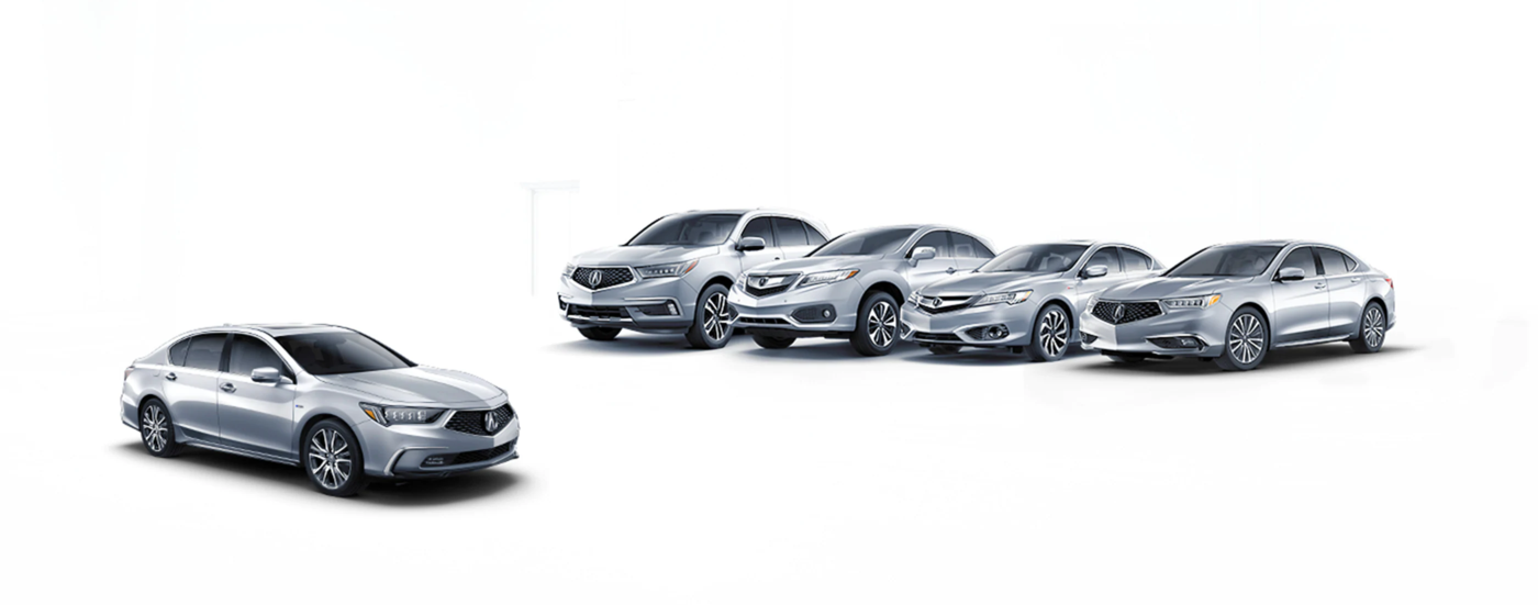 all acura models on display in white