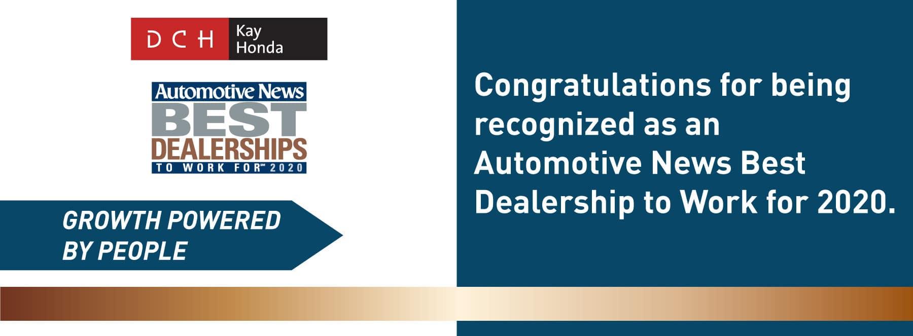 DCH Kay Honda Automotive News Best Dealership