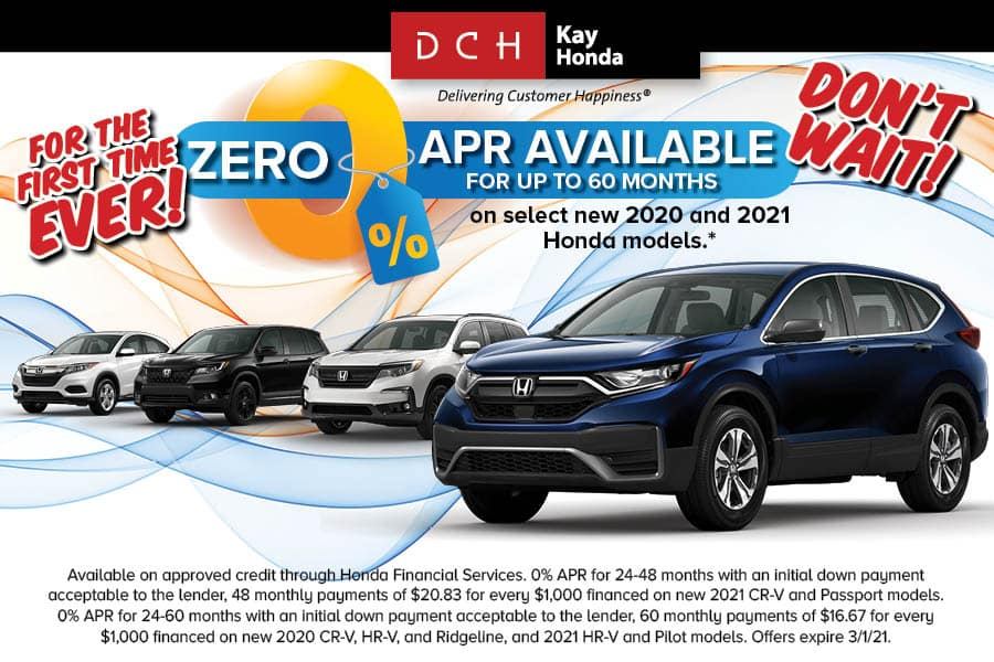0% Fincance for up to 60 months now available on select New Hondas