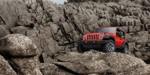 Red Jeep Wrangler Off Roading