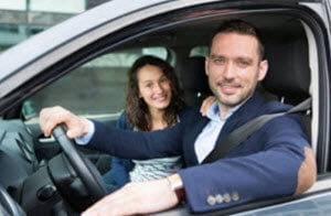 Couple test driving a dodge vehicle Richmond MI