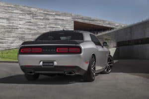 silver dodge challenger rear view