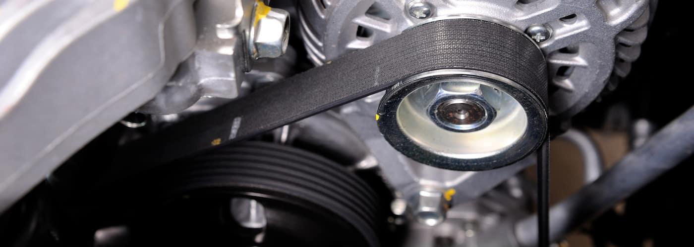 close up of timing belt