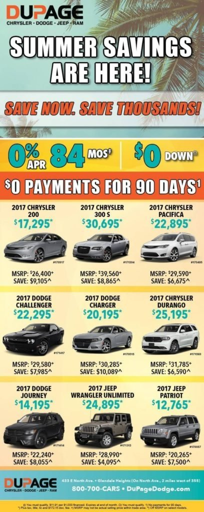 Dupage Chrysler Dodge Jeep RAM Summer Savings in Glendale IL