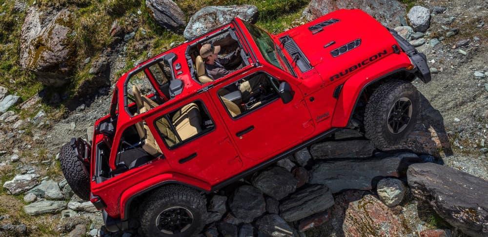 2018 Jeep Wrangler Rubicon climbs rocks