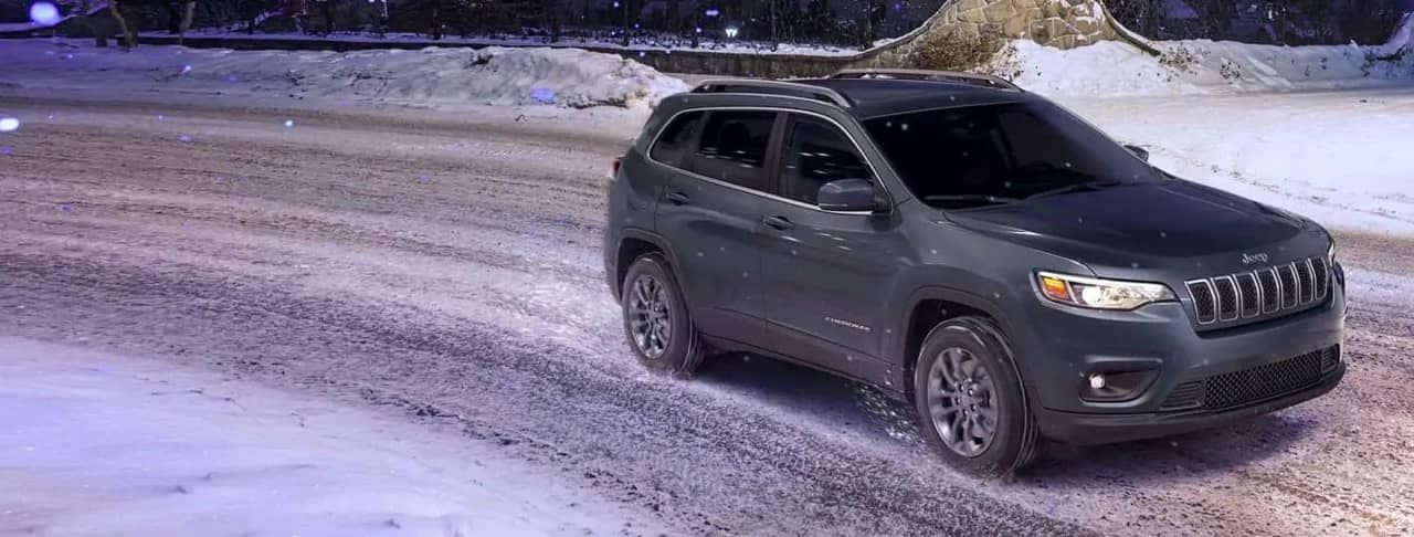 Jeep Cherokee on snowy street